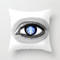 starbucks Throw Pillows featuring Starbucks Eye by Miguel Angel