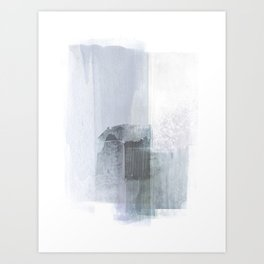 Blue Grey Minimalist Abstract Painting Art Print