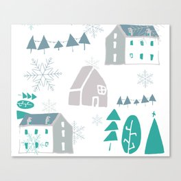 winter holiday houses Canvas Print