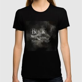 BLACK for hunting through the night. Shadowhunter Children's Rhyme. T-shirt