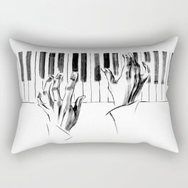 hands of a pianist playing music on the piano Rectangular Pillow