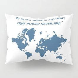 Travel Map with a Quote Pillow Sham