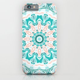 Teal and Coral Mandala iPhone Case