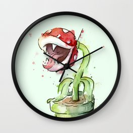 Piranha Plant Watercolor Geek Gaming Mario Art Wall Clock