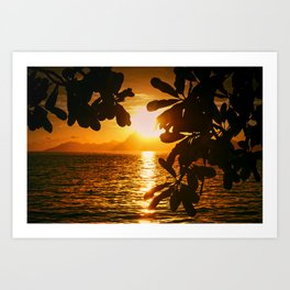 Golden Tahiti Sunset Behind Island Art Print