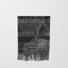 Auckland Black Map Wall Hanging