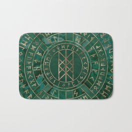 Web of Wyrd - Malachite, Leather and Golden texture Bath Mat