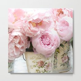 Paris Shabby Chic Peonies French Belle Fleur Floral Prints Home Decor Metal Print