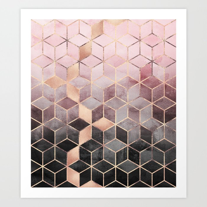 Pink And Grey Gradient Cubes Kunstdrucke