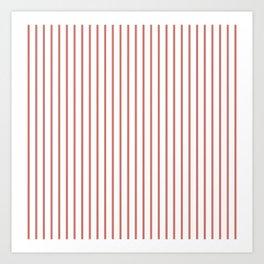 Camellia Pink Pinstripe on White Art Print