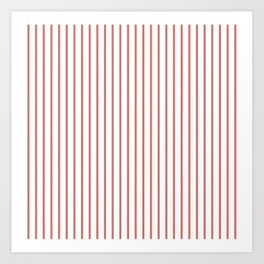 Camellia Pink Pinstripe on White Art Print