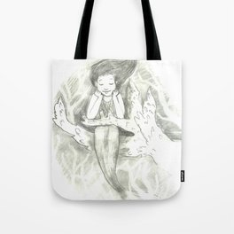 little mermaid on a branch of coral Tote Bag