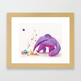 Giant Anteater Print, Anteater Art with Chameleon Framed Art Print