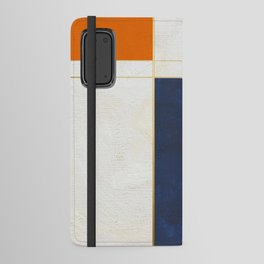 Orange, Blue And White With Golden Lines Abstract Painting Android Wallet Case