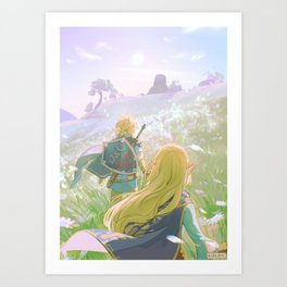 up the hill, together Art Print