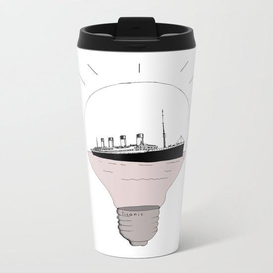Ship in a light bulb Metal Travel Mug