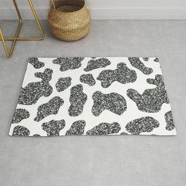 Glitter Cow Print w/ White Background Rug