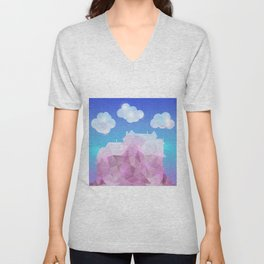 Abstract polygonal house with clouds and background Unisex V-Neck
