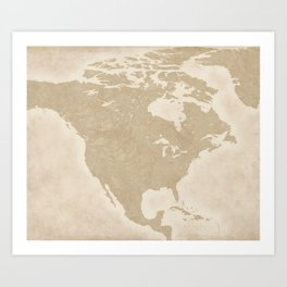 North American Travel Map Art Print