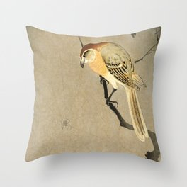 Shrike and spider - Vintage Japanese Woodblock Print Throw Pillow