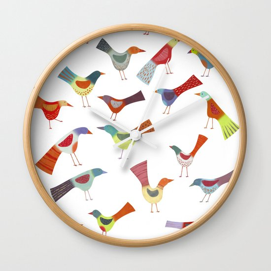 Birds doing bird things Wall Clock