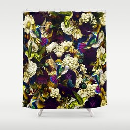 hummingbird paradise ethereal autumn flower pattern fn Shower Curtain