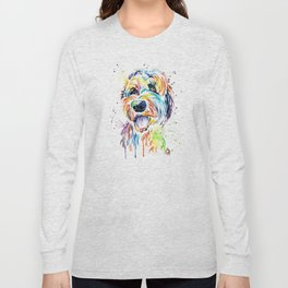 Goldendoodle, Golden Doodle Watercolor Pet Portrait Painting Long Sleeve T-shirt