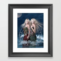 Gemini zodiac fantasy Framed Art Print