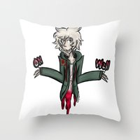 dangan ronpa Throw Pillows featuring kooomaeda by crying-hallmonitor