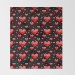 Hearts Red and Black Throw Blanket