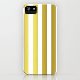 Gold and White Large Summer Beach Hut Stripes iPhone Case