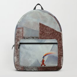 Happy man over the city Backpack