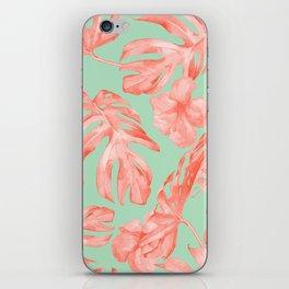 Island Life Coral Pink + Pastel Green iPhone Skin