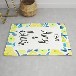 Amy & Laurie Rose Pattern - Yellow and Blue Palette Rug