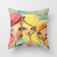 sisters Throw Pillows featuring Sisters by SannArt