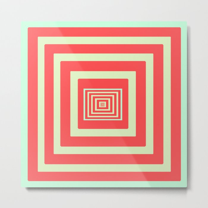 Coral and Light Blue Metal Print