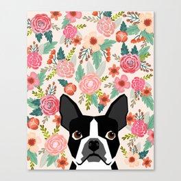 Boston Terrier florals flowers boho cute black and white boston terrier puppy dog pet portraits  Canvas Print