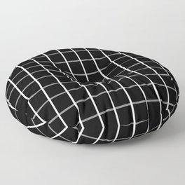 Large White on Black Grid Pattern | Floor Pillow