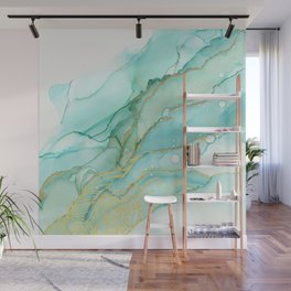 Magic Bloom Flowing Teal Blue Gold Wall Mural