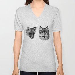Vulpes vulpes, canis lupus Unisex V-Neck