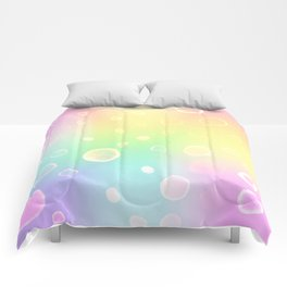 Magical Rainbow Gradient with Watercolor Bubbles Comforters