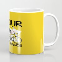 tour de france Mugs featuring Tour De France by Wyatt Design