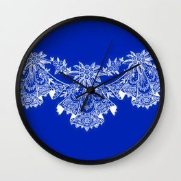 Vintage Lace Hankies Sapphire Blue Wall Clock