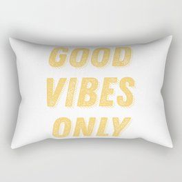 Good Vibes Only Bold Typography in Yellow Rectangular Pillow