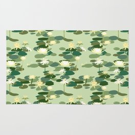 Waterlily pattern in Green Rug