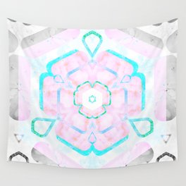 Pale Pink and Teal Viola Hybrid Flower Abstract Art Watercolor Wall Tapestry