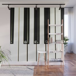 Acoustic piano keys from top angle view Wall Mural
