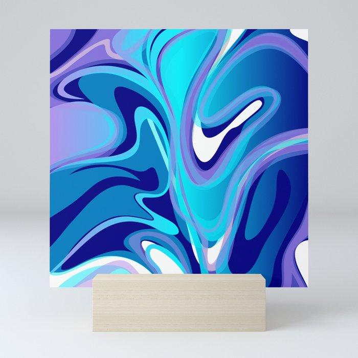 Liquify in Turquoise, Lavender, Purple, Navy Mini Art Print