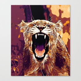 african lioness safari cat v2 vector art late sunset Canvas Print