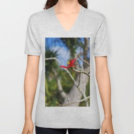 While the Mockingbird Sings- vertical Unisex V-Neck